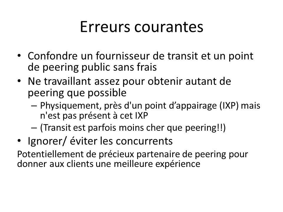 Erreurs courantes Confondre un fournisseur de transit et un point de peering public sans frais.