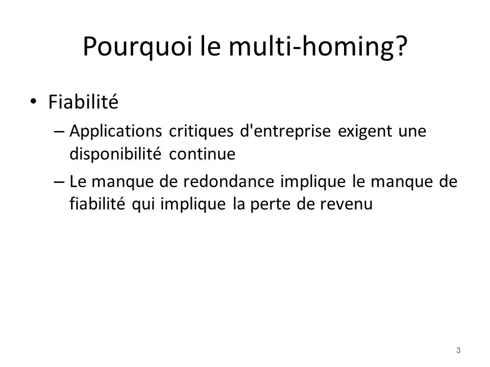 Pourquoi le multi-homing