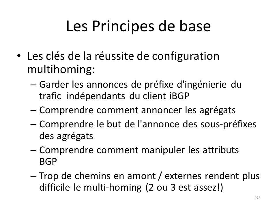 Les Principes de base Les clés de la réussite de configuration multihoming: