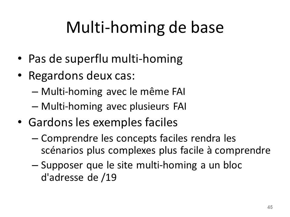 Multi-homing de base Pas de superflu multi-homing Regardons deux cas: