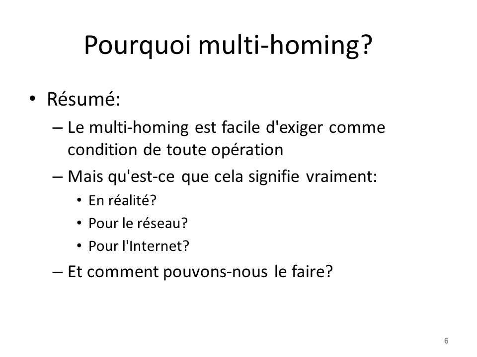 Pourquoi multi-homing