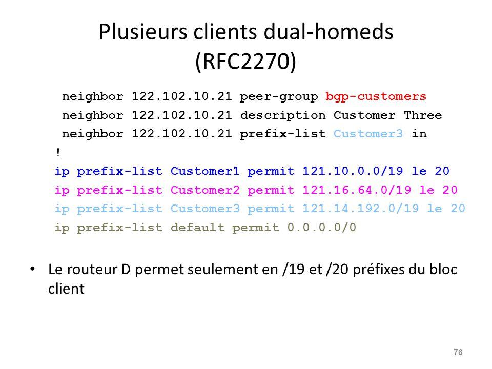 Plusieurs clients dual-homeds (RFC2270)