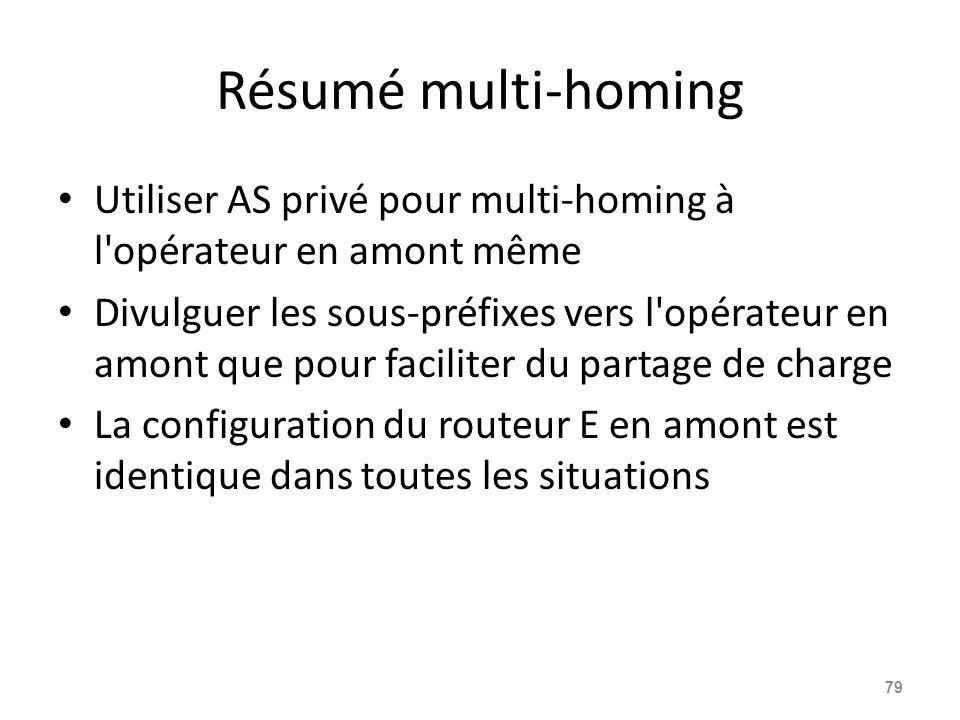 Résumé multi-homing Utiliser AS privé pour multi-homing à l opérateur en amont même.