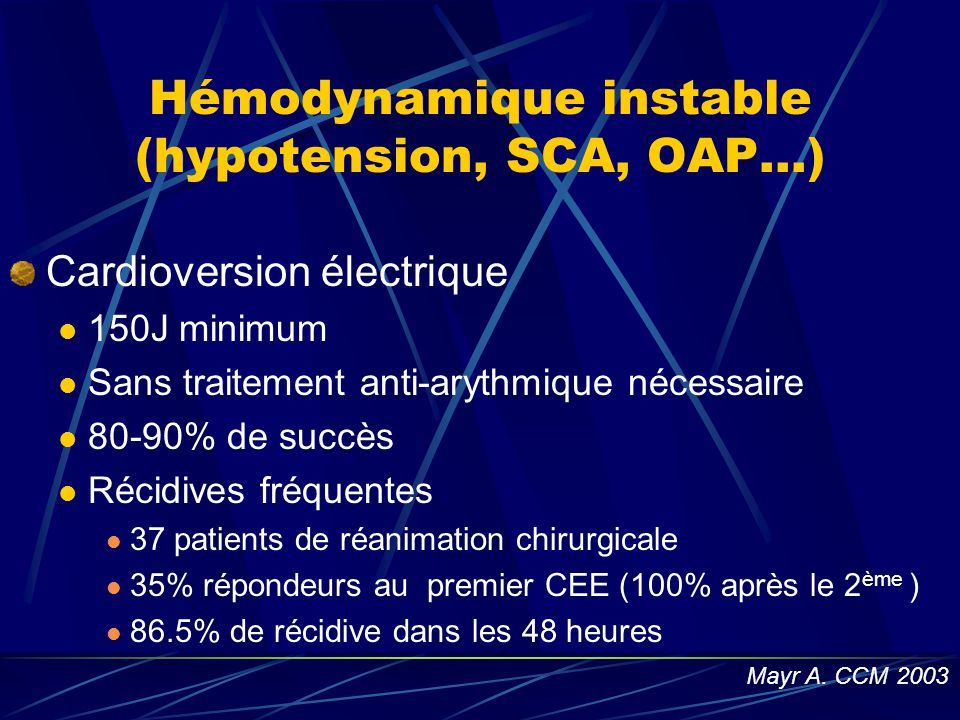 Hémodynamique instable (hypotension, SCA, OAP…)