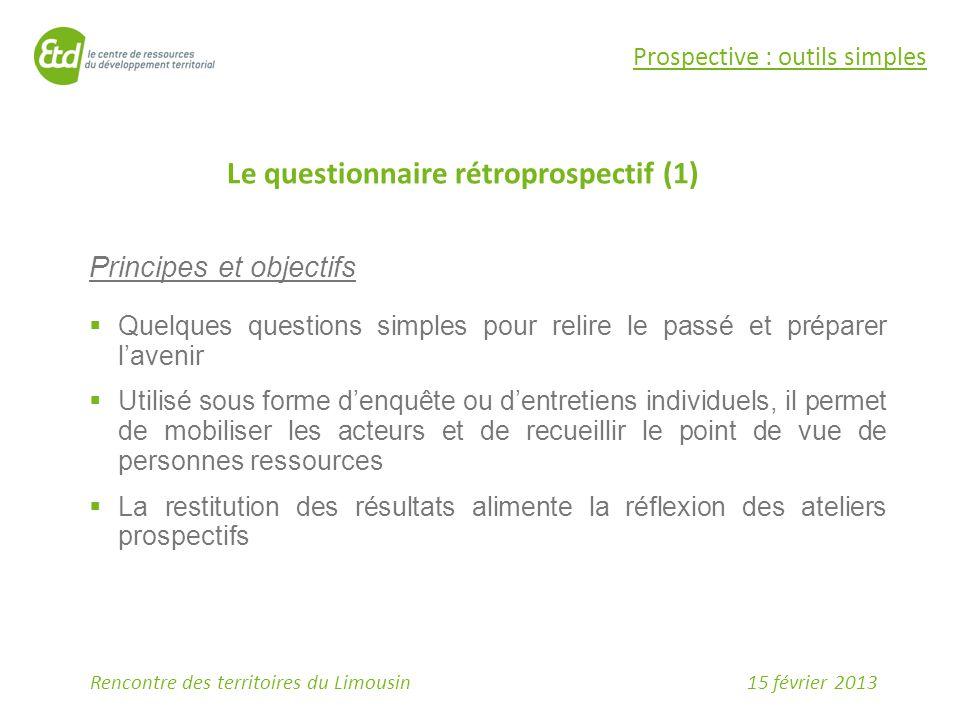 Le questionnaire rétroprospectif (1)