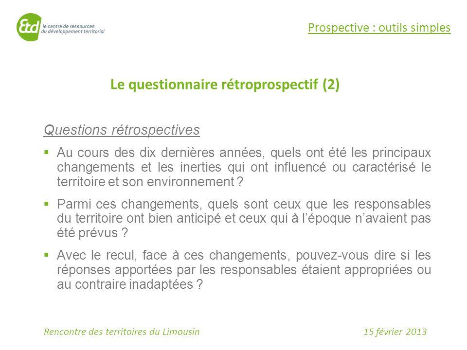 Le questionnaire rétroprospectif (2)