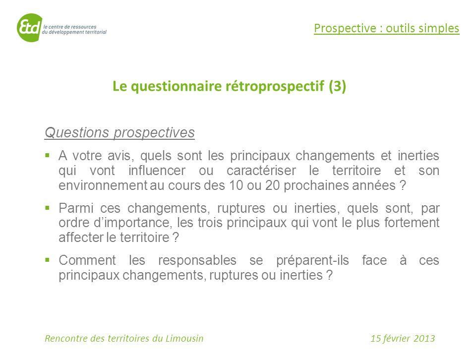 Le questionnaire rétroprospectif (3)