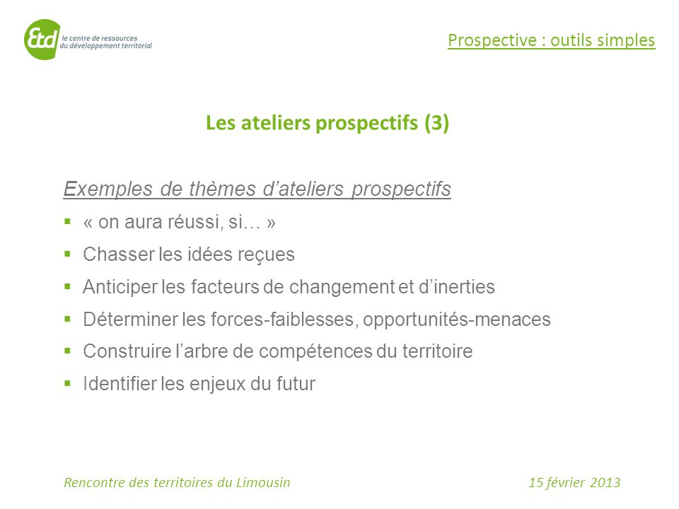 Les ateliers prospectifs (3)