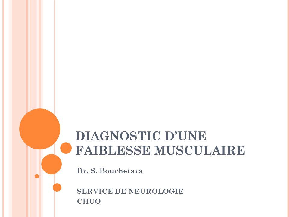 DIAGNOSTIC D'UNE FAIBLESSE MUSCULAIRE