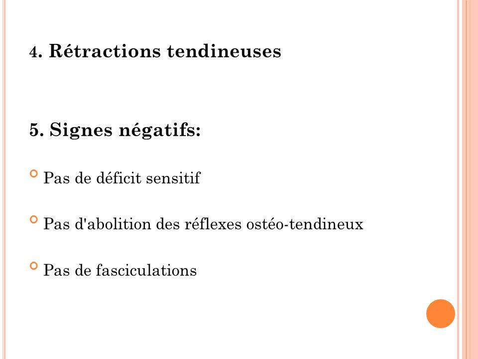 5. Signes négatifs: 4. Rétractions tendineuses Pas de déficit sensitif