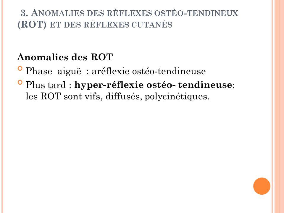 3. Anomalies des réflexes ostéo-tendineux (ROT) et des réflexes cutanés