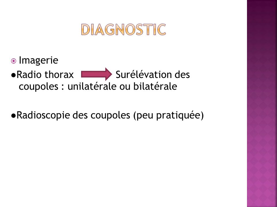 DIAGNOSTIC Imagerie. ●Radio thorax Surélévation des coupoles : unilatérale ou bilatérale.