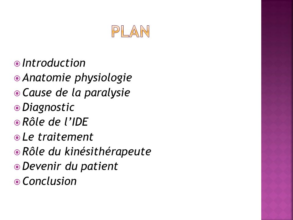Plan Introduction Anatomie physiologie Cause de la paralysie