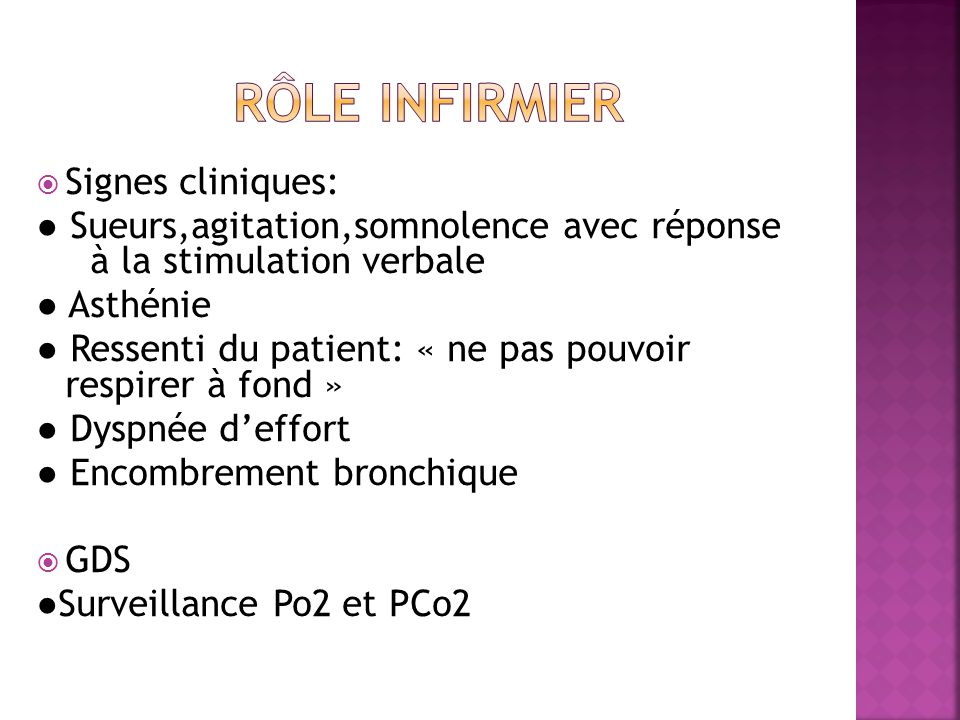 RÔLE INFIRMIER Signes cliniques: