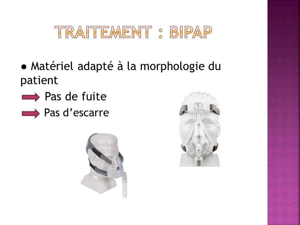 TRAITEMENT : bipap ● Matériel adapté à la morphologie du patient