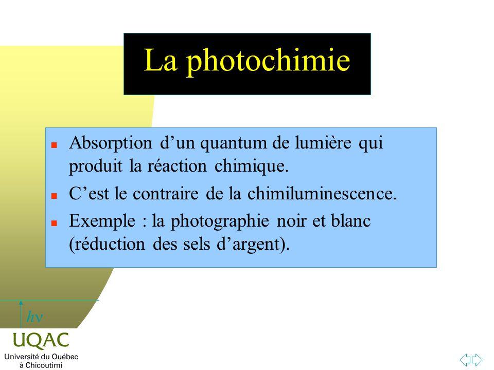 La photochimie Absorption d'un quantum de lumière qui produit la réaction chimique. C'est le contraire de la chimiluminescence.