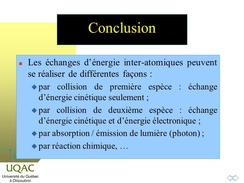 Conclusion Les échanges d'énergie inter-atomiques peuvent se réaliser de différentes façons :
