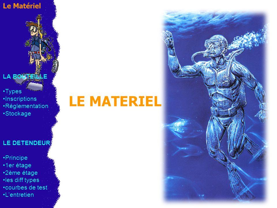 LE MATERIEL Le Matériel LA BOUTEILLE Types Inscriptions Réglementation