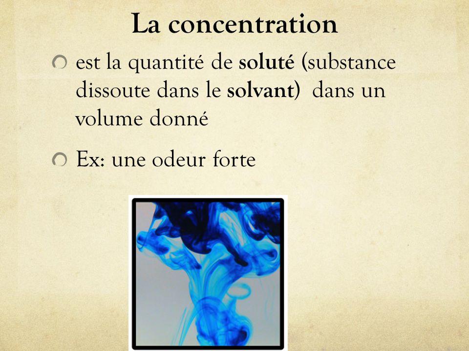 La concentration est la quantité de soluté (substance dissoute dans le solvant) dans un volume donné.
