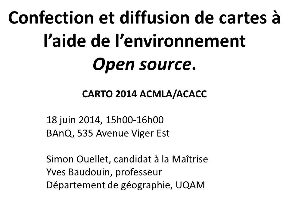 Confection et diffusion de cartes à l'aide de l'environnement Open source.