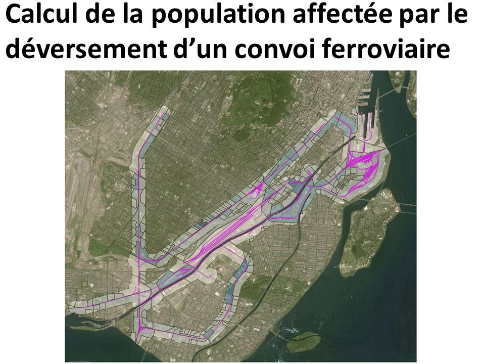 Calcul de la population affectée par le déversement d'un convoi ferroviaire