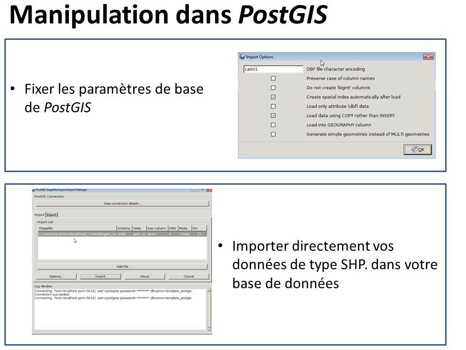 Manipulation dans PostGIS