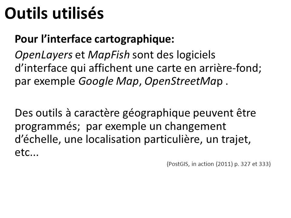 Outils utilisés Pour l'interface cartographique: