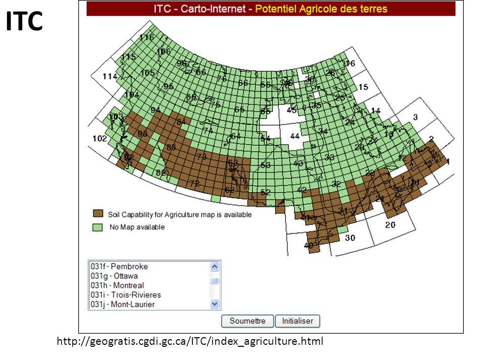 ITC http://geogratis.cgdi.gc.ca/ITC/index_agriculture.html