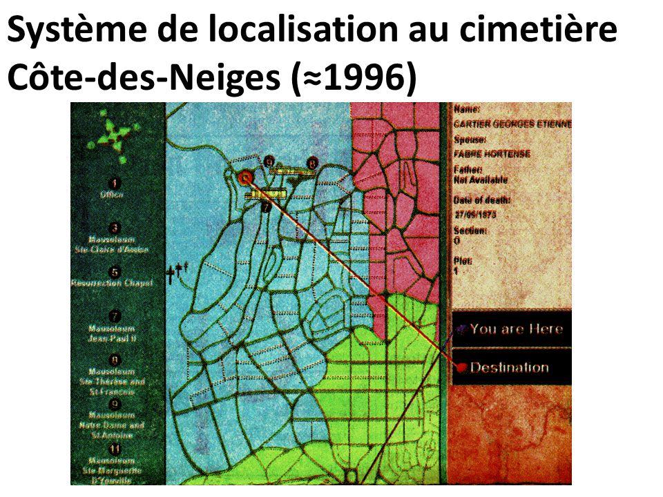 Système de localisation au cimetière Côte-des-Neiges (≈1996)