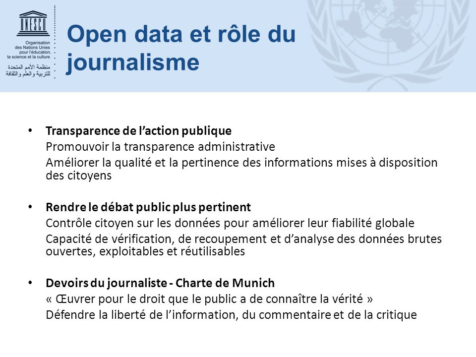 Open data et rôle du journalisme