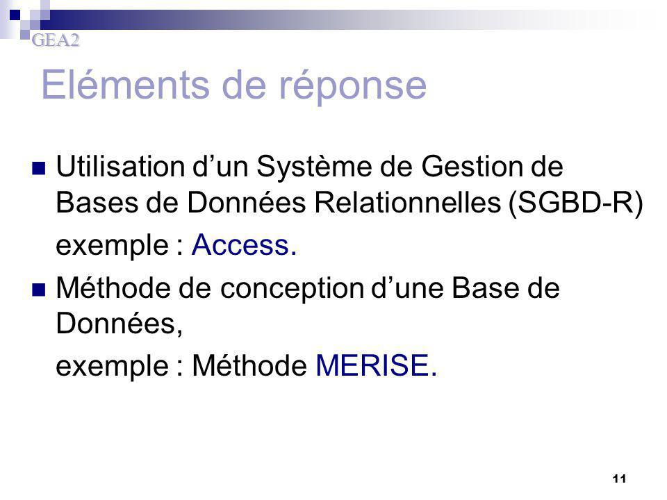 Eléments de réponse Utilisation d'un Système de Gestion de Bases de Données Relationnelles (SGBD-R)