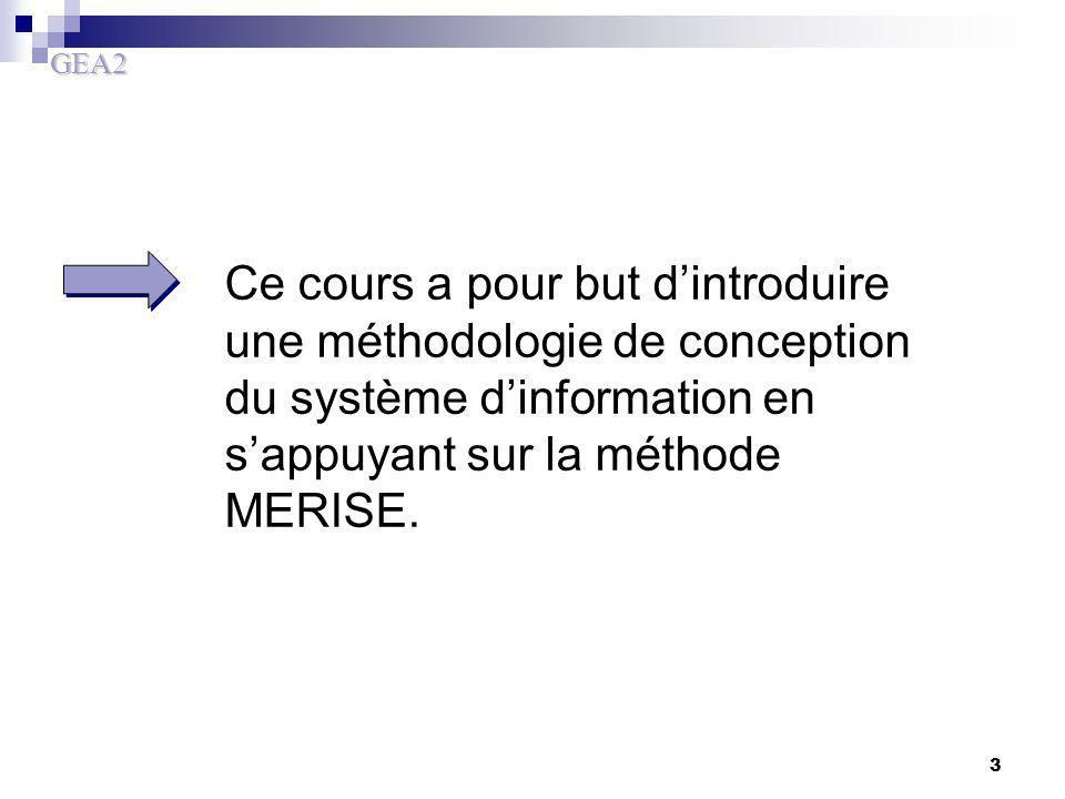 Ce cours a pour but d'introduire une méthodologie de conception du système d'information en s'appuyant sur la méthode MERISE.