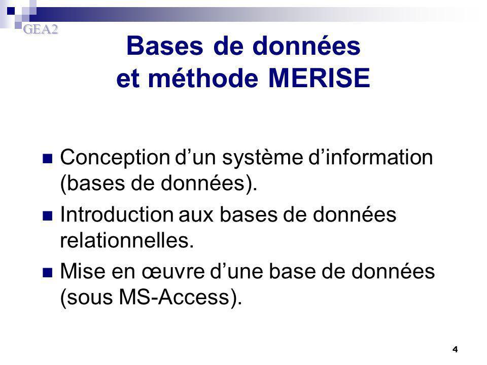 Bases de données et méthode MERISE