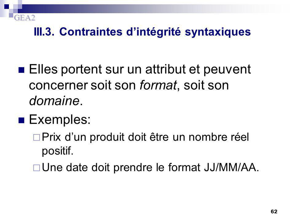 III.3. Contraintes d'intégrité syntaxiques