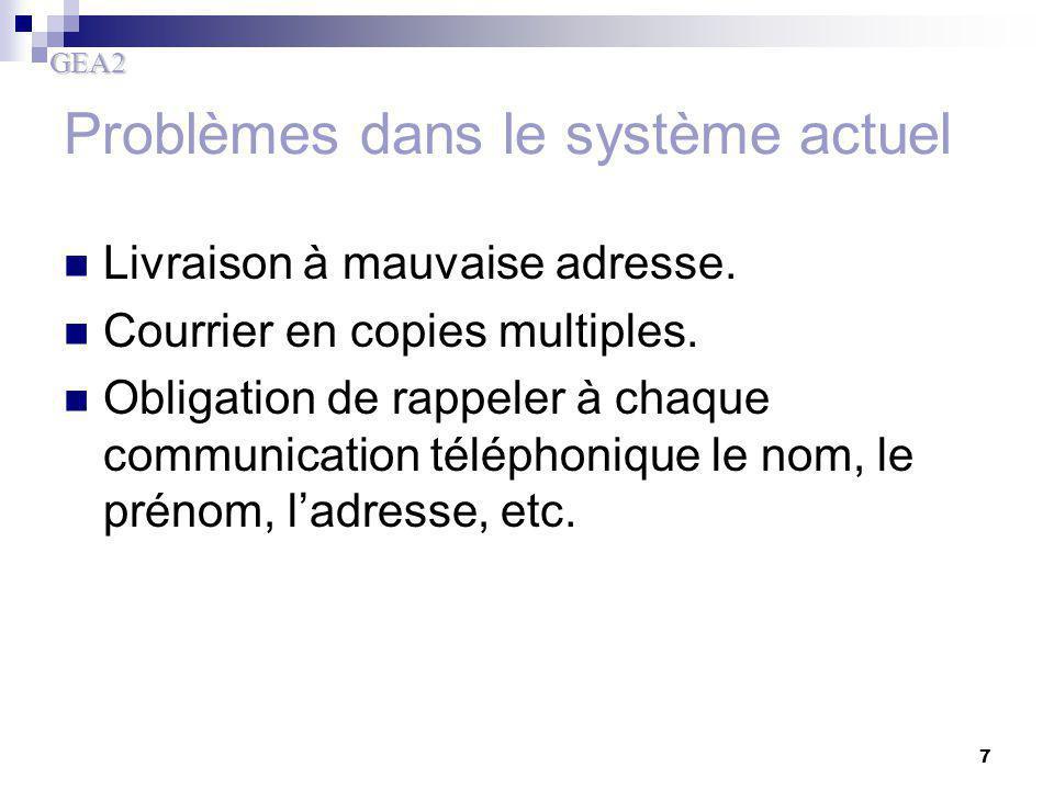 Problèmes dans le système actuel