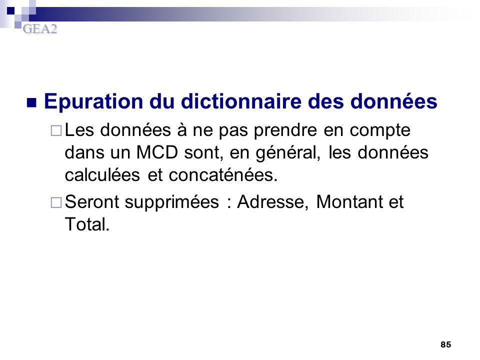 Epuration du dictionnaire des données