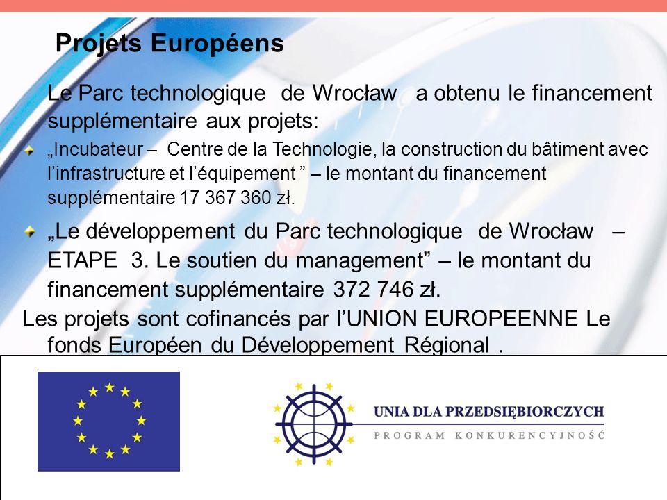Projets Européens Le Parc technologique de Wrocław a obtenu le financement supplémentaire aux projets: