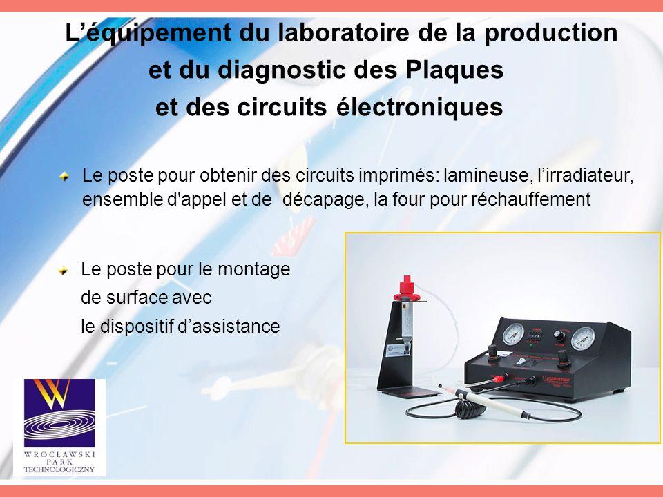 L'équipement du laboratoire de la production