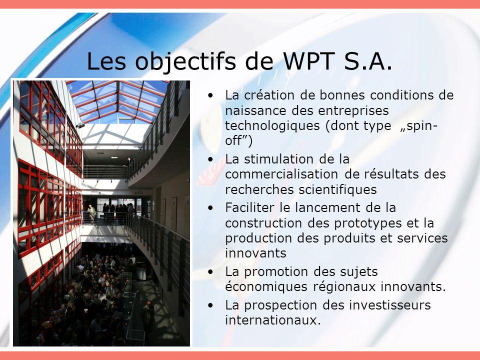 """Les objectifs de WPT S.A. La création de bonnes conditions de naissance des entreprises technologiques (dont type """"spin-off )"""
