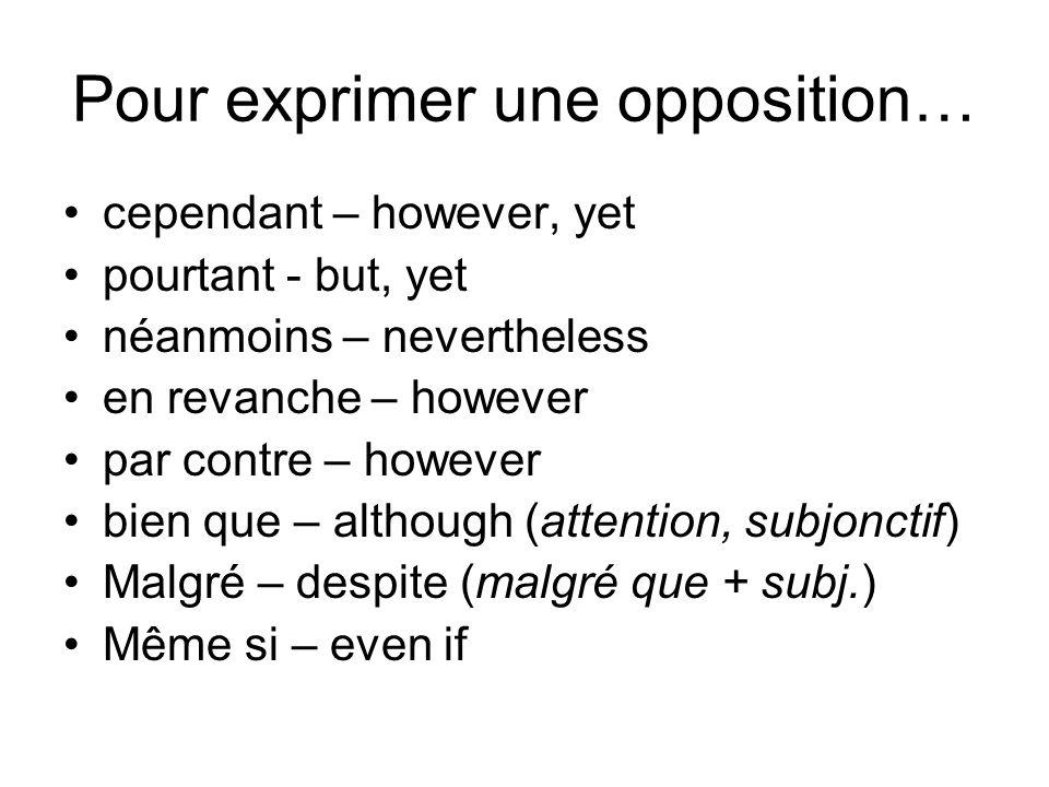 Pour exprimer une opposition…