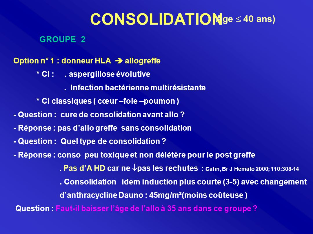 CONSOLIDATION (Age  40 ans) GROUPE 2