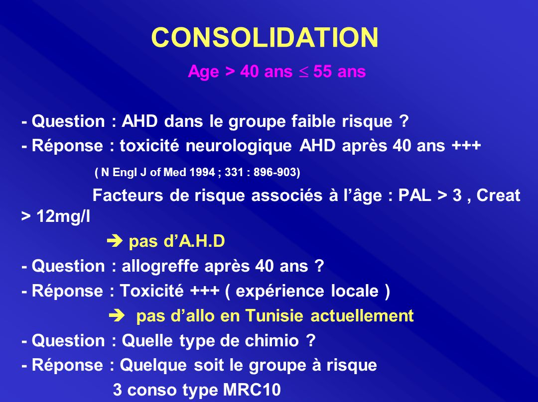 CONSOLIDATION Age > 40 ans  55 ans