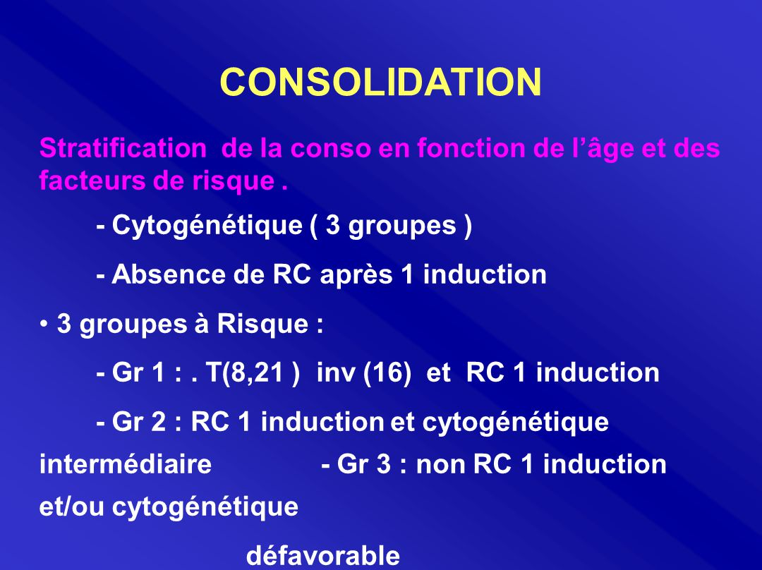 CONSOLIDATION Stratification de la conso en fonction de l'âge et des facteurs de risque . - Cytogénétique ( 3 groupes )