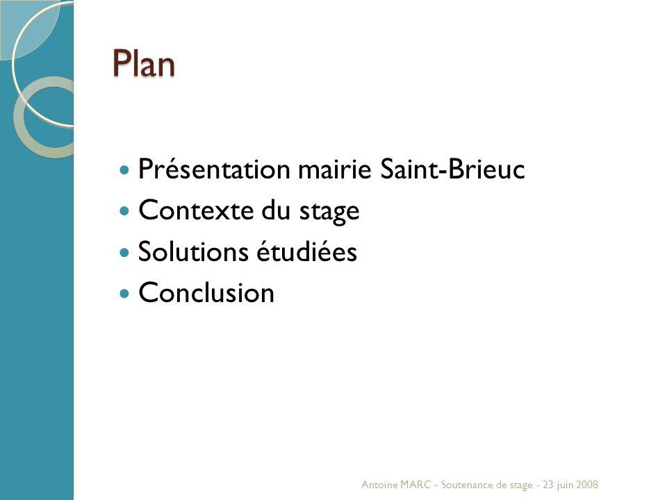 Plan Présentation mairie Saint-Brieuc Contexte du stage