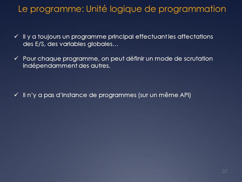Le programme: Unité logique de programmation