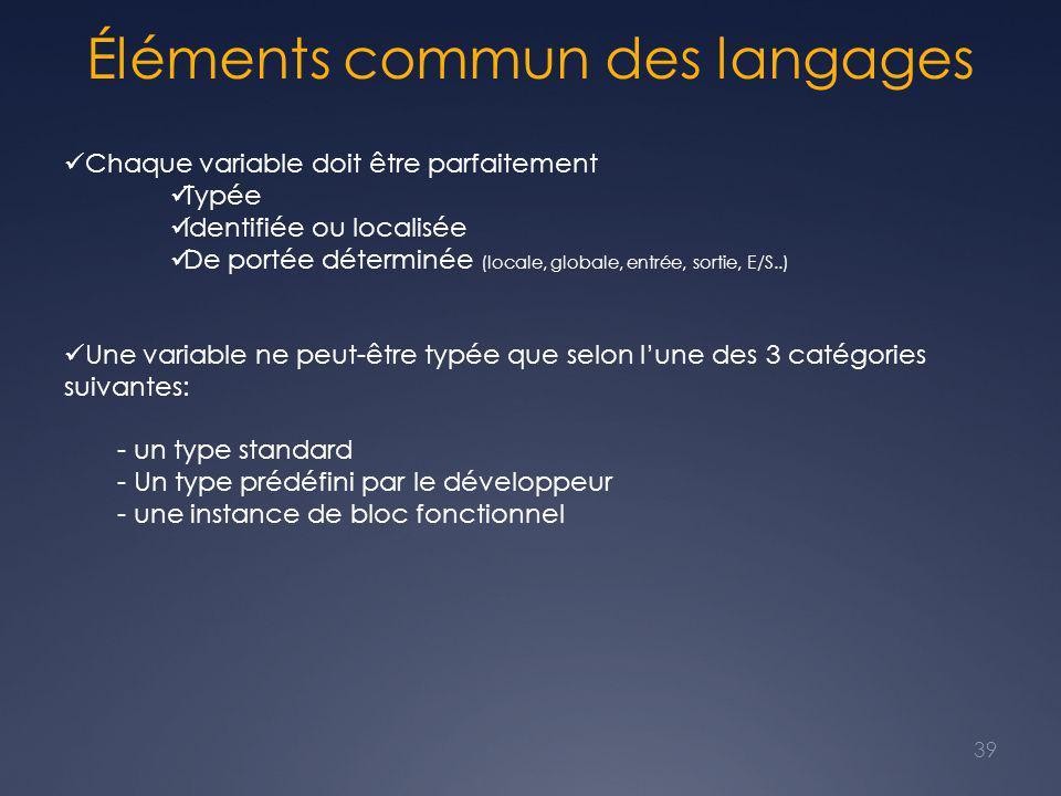 Éléments commun des langages