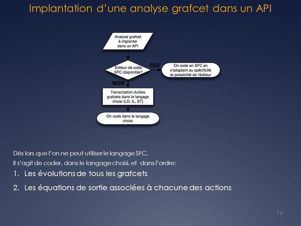 Implantation d'une analyse grafcet dans un API