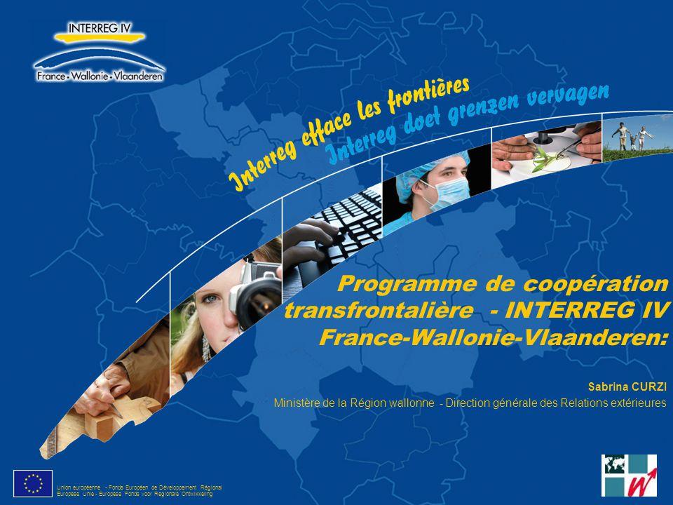Programme de coopération transfrontalière - INTERREG IV France-Wallonie-Vlaanderen: Sabrina CURZI Ministère de la Région wallonne - Direction générale des Relations extérieures