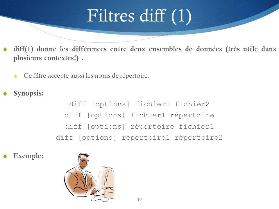 Filtres diff (1) diff(1) donne les différences entre deux ensembles de données (très utile dans plusieurs contextes!) .