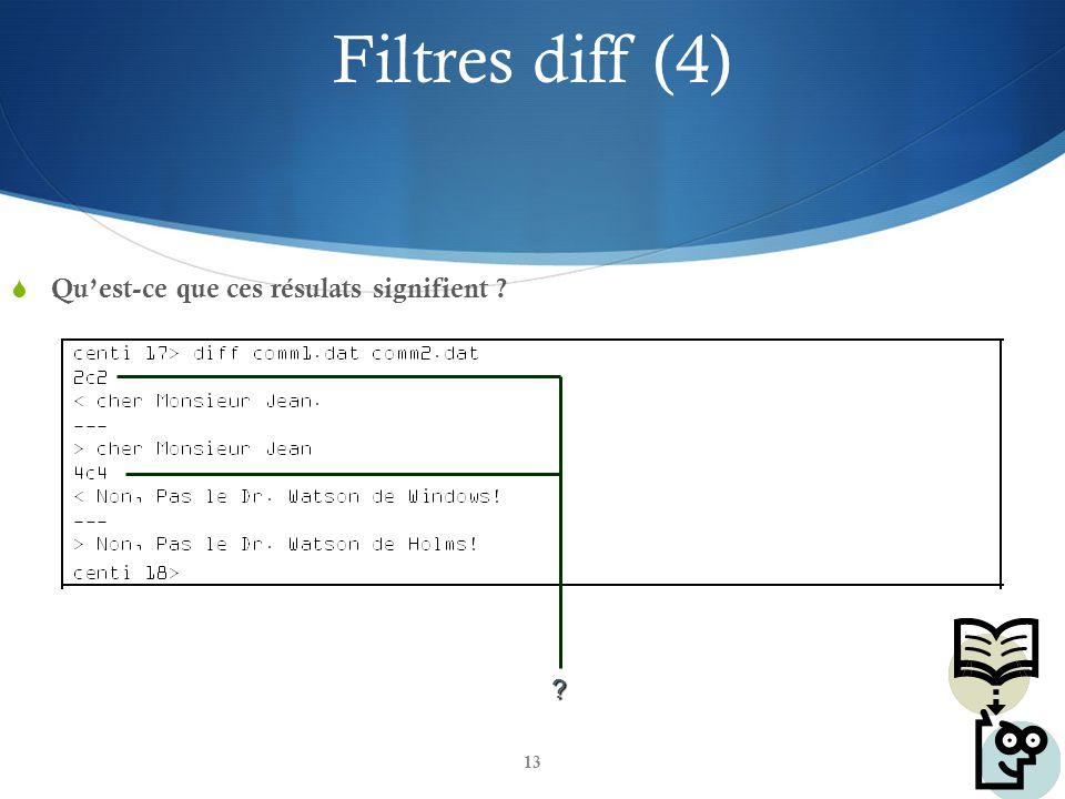 Filtres diff (4) Qu'est-ce que ces résulats signifient